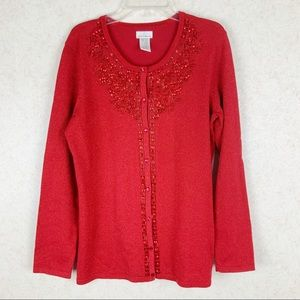 Jaclyn Smith sparkly beaded button up cardigan